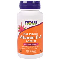 Now Foods, ビタミンD3、高い有効性、1,000 IU、ソフトジェル180錠